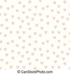 Hearts small pink with purple edge on white background seamless vector pattern.