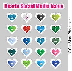 Hearts Social Media Icons 2