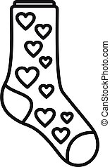 Hearts sock icon outline vector. Winter fashion item