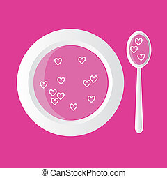 hearts soup - special soup - pink with hearts, pink...