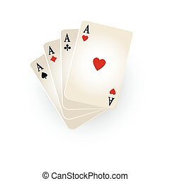 Hearts, spades, clubs, diamonds ace playing cards