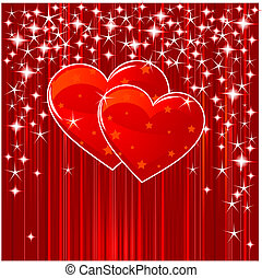 Red Valentine background with hearts, stars and stripes