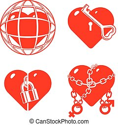 hearts., stilizzato, chiuso, set