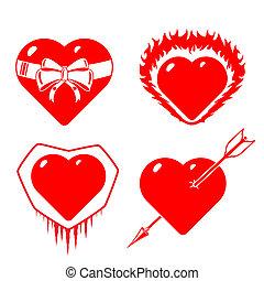 hearts., stilizzato, differente, set
