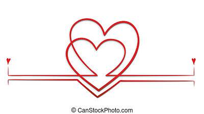 hearts - a decorative element with two entwined hearts