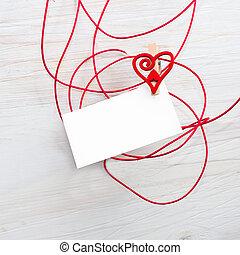 hearts., symbole, texte, carte, love., vide, pinces