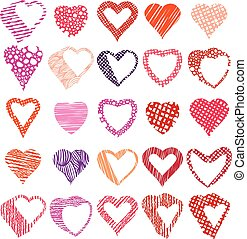 Hearts symbols vector set, different shapes and textures vector heart icons.