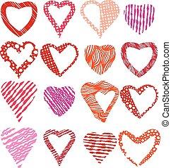 Hearts symbols vector set