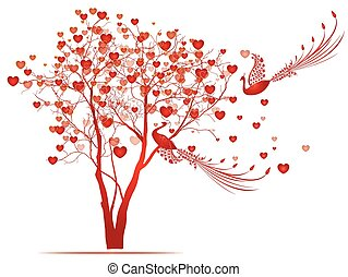 Hearts tree with two birds