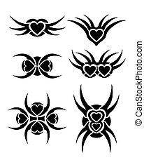 Hearts tribal vector tattoo set