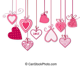 Hearts - Valentines day card, Pink fabric hearts with bows...