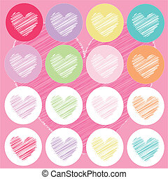 hearts valentine\'s icons, pink back