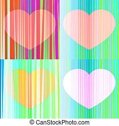 hearts., vecteur, ensemble