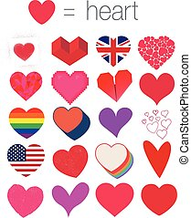 Vector illustration of different shapes of hearts (graffiti, stamp, origami, in pixel etc...)