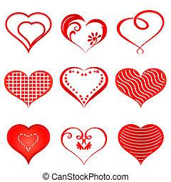 hearts., vector, set, rood