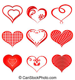 hearts., vektor, sæt, rød