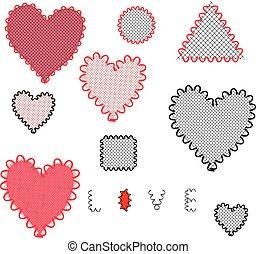 hearts., vetorial, jogo, illustration.