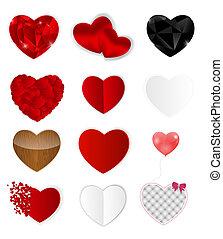hearts., vettore, set, illustrazione