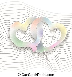Hearts - Watercolor hearts entangled. Clipping masks were...