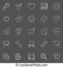 Hearts white vector icons