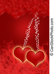 Two hearts with a golden glow are on the red smoke background. Blurred red hearts are on the upper of the picture. The middle part of the picture is brightened. Hearts hanging on lines of starlight.