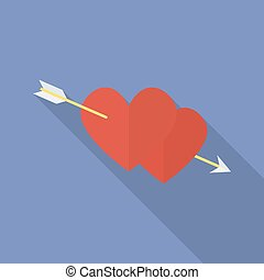 Hearts with an arrow. Flat style icon