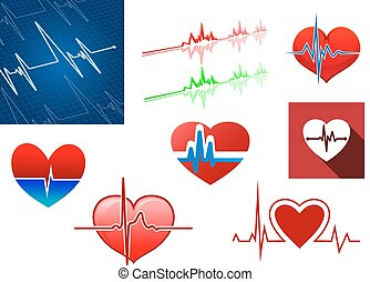 Red hearts with beat frequency icons and cardiology monitor for medical concept design