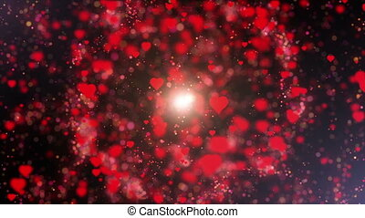 Hearts with bokeh pulsing and spinning for Valentines Day