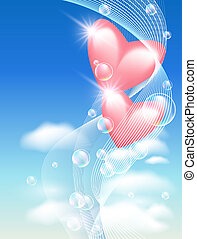 Hearts with bubbles in the sky