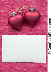 hearts with card