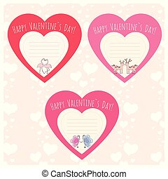 Hearts with Couple of deer, flamingo and butterfly