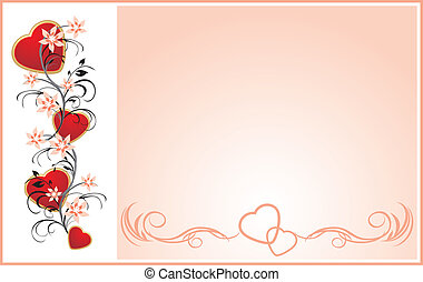 Hearts with floral ornament. Card