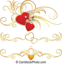 Hearts with floral ornament. Pattern for frames. Vector...