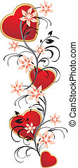 Hearts with floral ornament