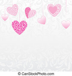 hearts with flower pattern