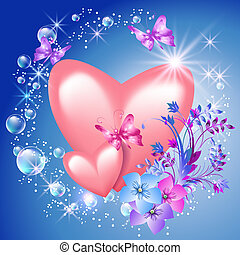 Hearts with flowers - Pink hearts with flowers and sunshine