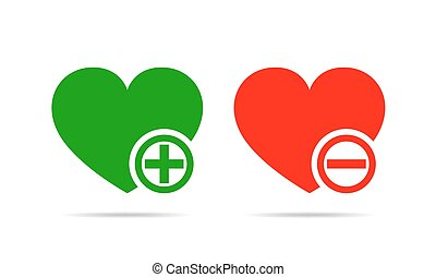 Hearts with plus and minus marks. Vector illustration.