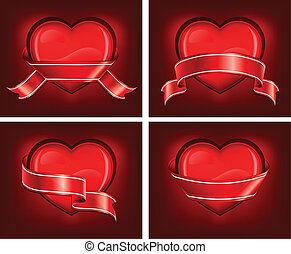 Hearts with ribbom on red