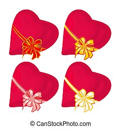 Hearts with ribbon Valentines day