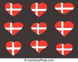 Hearts with the Denmark flag. I love the Denmark. Denmark flag icon set. Vector illustration.