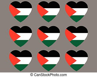 Hearts with the flag of Palestine. I love the Palestine. Palestine flag icon set. Vector illustration.