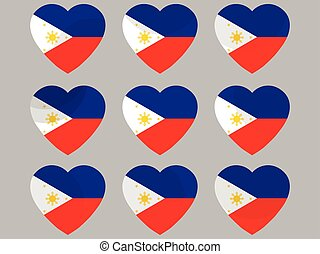Hearts with the flag of Philippines. I love the Philippines. Philippines flag icon set. Vector illustration.