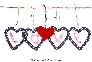 hearts with the word love