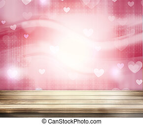 Hearts Wood Background