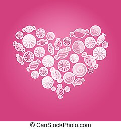 hearts4a-GL - magenta pattern with sweet candy. Vector...