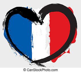 heartshape, bandera, francia