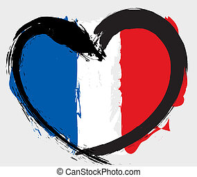 heartshape, flagga, frankrike
