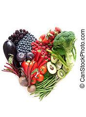 heartshape, grönsaken, frukter