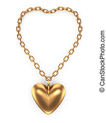 heartshape pendant isolated on white background. 3d rendered...