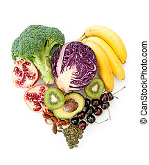 Heartshape superfoods - Foods with high nutritional value in...